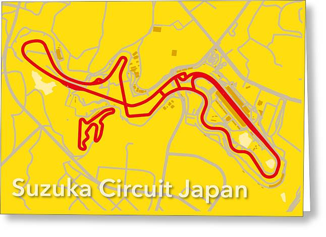 Suzuka Circuit Japan Greeting Card by Big City Artwork