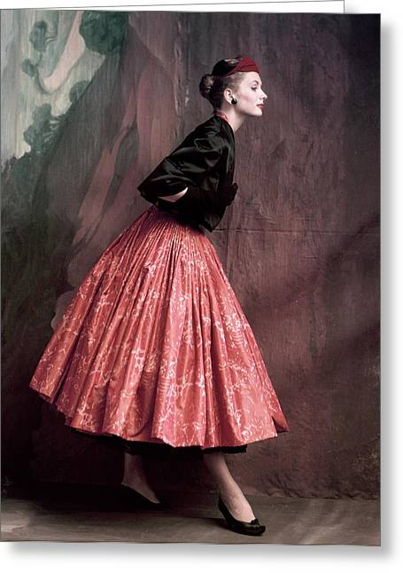 Suzy Parker In A Givenchy Skirt Greeting Card by John Rawlings