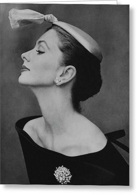 Suzy Parker In An Off-the-shoulder Dress Greeting Card by John Rawlings