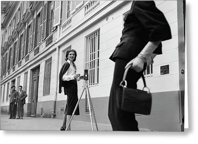 Suzy Parker Photographing A Model In Front Greeting Card by Jacques Boucher