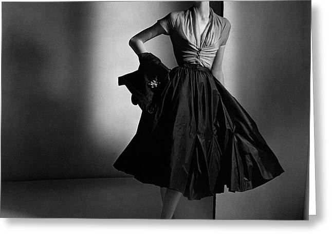 Suzy Parker Wearing A Dior Dress And Jacket Greeting Card by Horst P. Horst