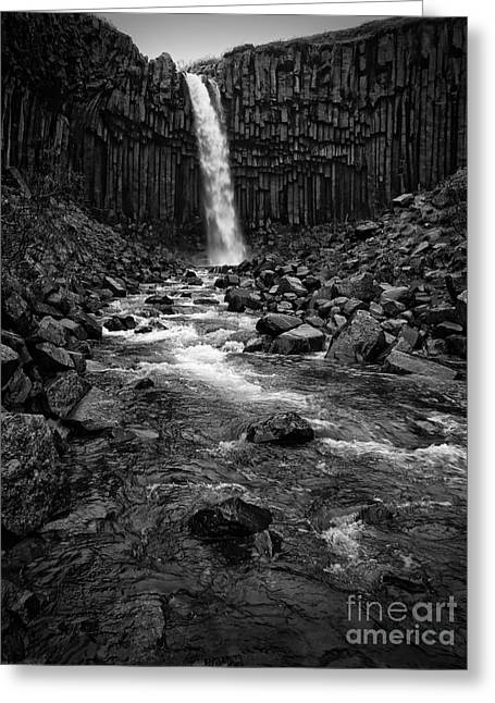 Svartifoss Waterfall In Black And White Greeting Card by IPics Photography