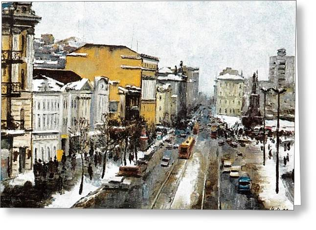 Svetlanskaya Street Vladivostok Greeting Card by Jake Hartz