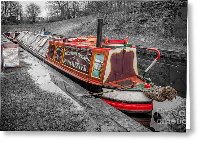 Swallow Canal Boat Greeting Card by Adrian Evans
