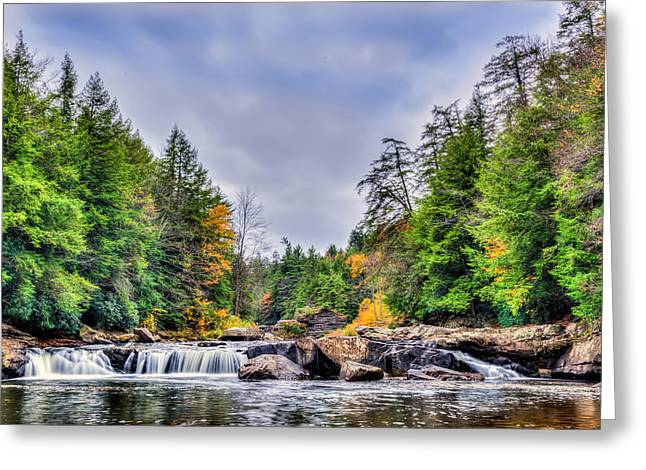 Swallow Falls Waterfall In Appalachian Mountains In Autumn Greeting Card