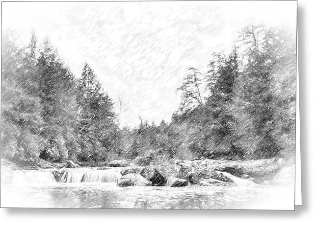 Swallow Falls Waterfall Pencil Sketch Greeting Card