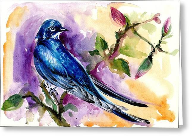 Swallow In Magnolia Watercolor Greeting Card