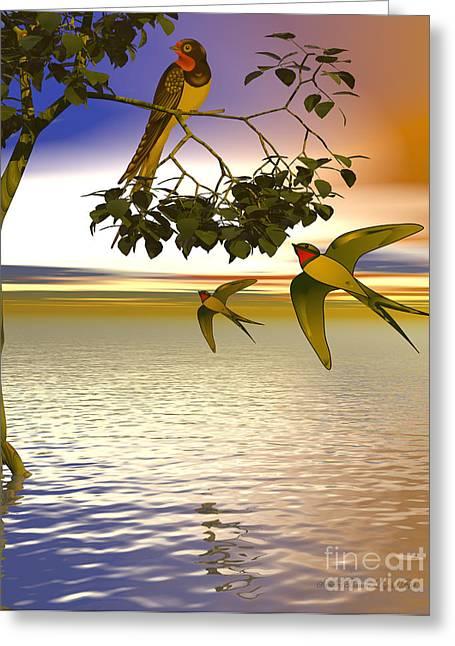 Greeting Card featuring the digital art Swallows At Sundown by Sandra Bauser Digital Art