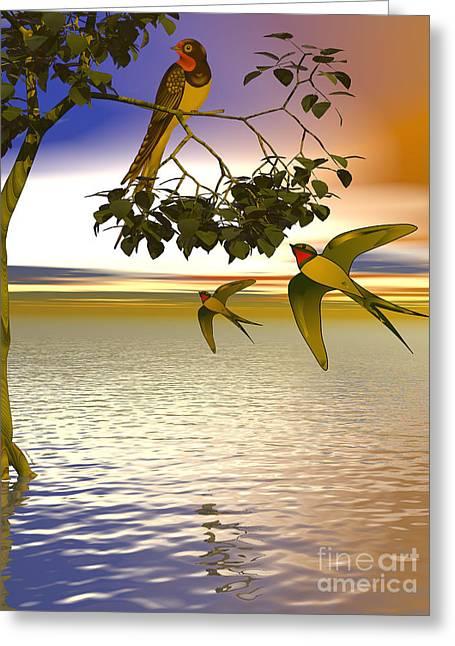Greeting Card featuring the digital art Swallows At Sunset by Sandra Bauser Digital Art