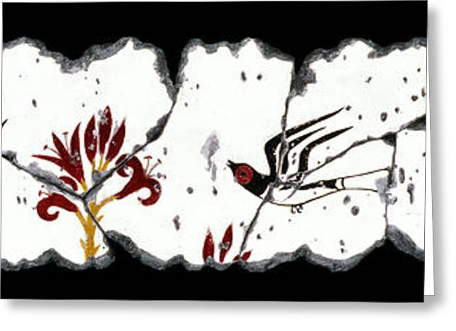 Swallows With Lilies No. 5 Greeting Card by Steve Bogdanoff