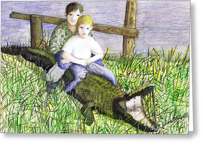 Greeting Card featuring the painting Swamp Boys by June Holwell
