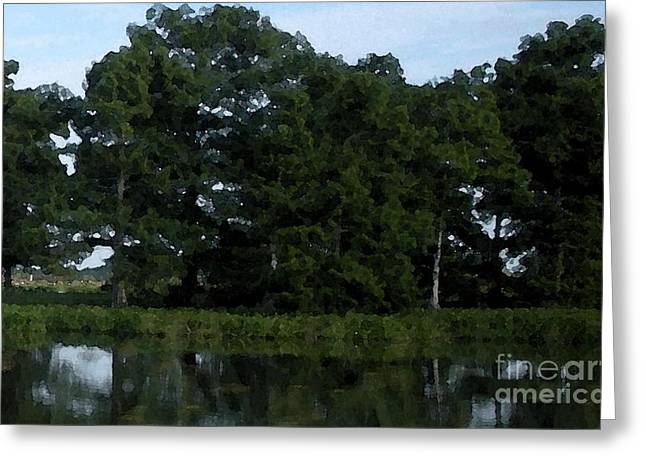 Swamp Cypress Trees Digital Oil Painting Greeting Card by Joseph Baril