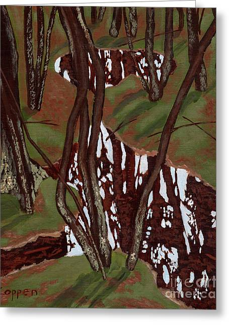 Greeting Card featuring the painting Swamp Reflections by Robert Coppen