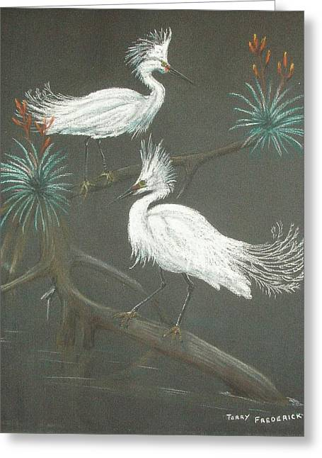 Greeting Card featuring the pastel Swampbirds by Terry Frederick