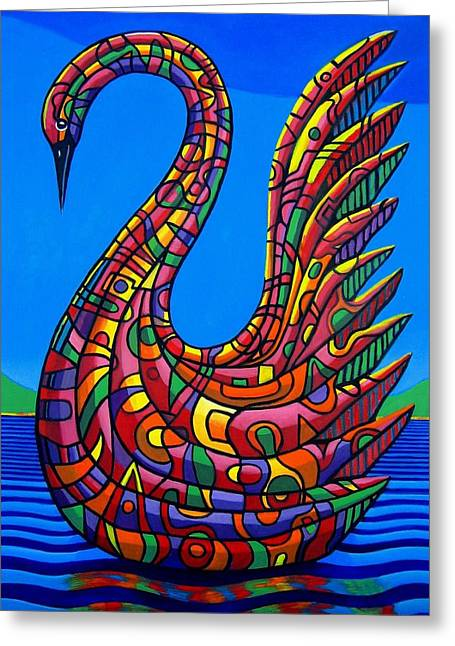 Swan Abstract Greeting Card by Chris Boone