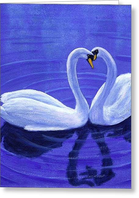 Swan Hearts Greeting Card