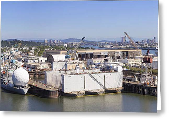 Swan Island Shipyard Panorama Greeting Card