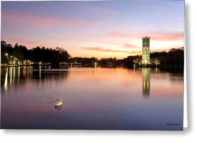 Swan Lake Greeting Card by Nian Chen