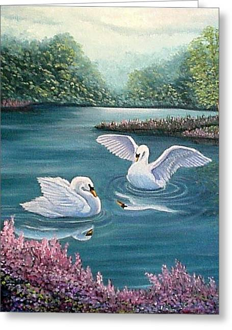 Swan Lake Serenity Greeting Card