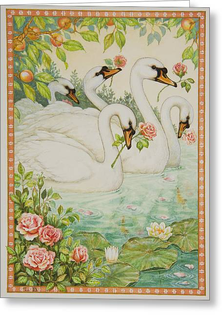 Swan Romance Greeting Card by Lynn Bywaters