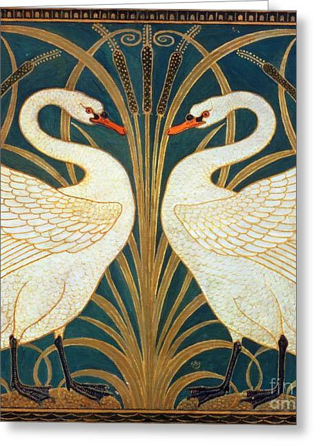 Swan Rush And Iris Greeting Card