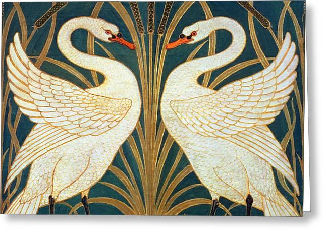 Swan Rush And Iris Greeting Card by Walter Crane