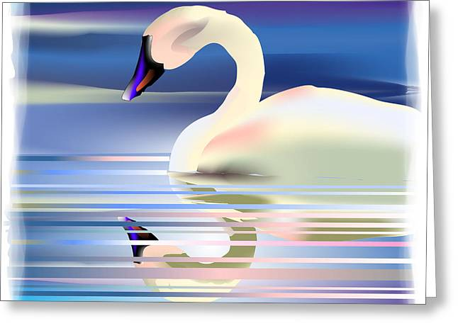 Greeting Card featuring the digital art Swan Song by Arline Wagner