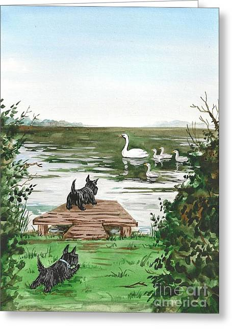 Swan Swan Swan Get Back Here Greeting Card by Margaryta Yermolayeva
