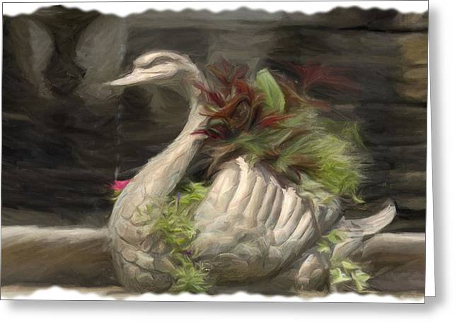 Swan With Beautiful Flowers Greeting Card