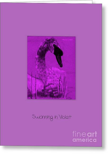 Swanning In Violet Greeting Card by Linda Prewer