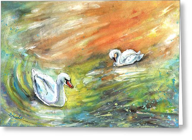 Swans From Bergamo Greeting Card by Miki De Goodaboom