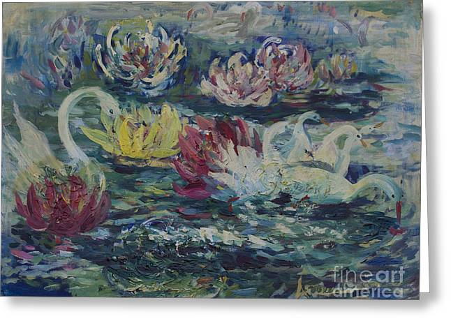 Swans In Lilies  Greeting Card