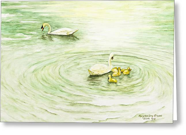 Swans In St. Pierre Greeting Card