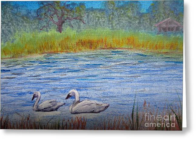 Swans Greeting Card by Laurianna Taylor