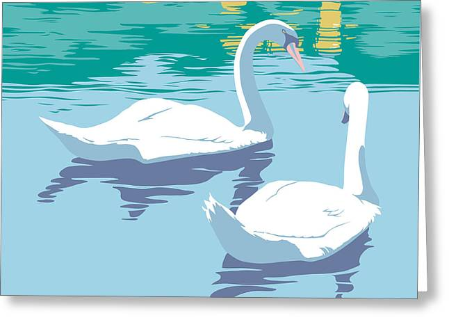 Swans On The Lake And Reflections Absract - Square Format Greeting Card by Walt Curlee