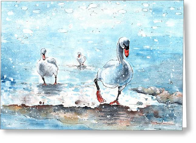 Swans On The March Greeting Card by Miki De Goodaboom
