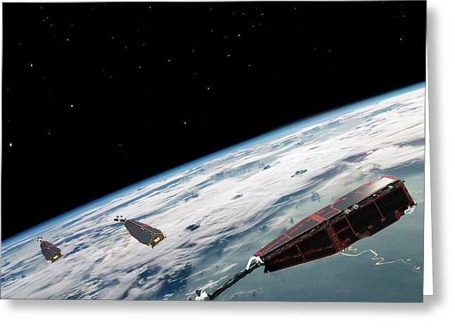 Swarm Satellites Greeting Card by European Space Agency/aoes Medialab