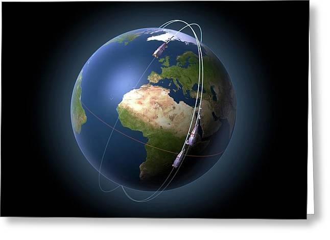 Swarm Satellites In Orbit Greeting Card by P.carril/esa