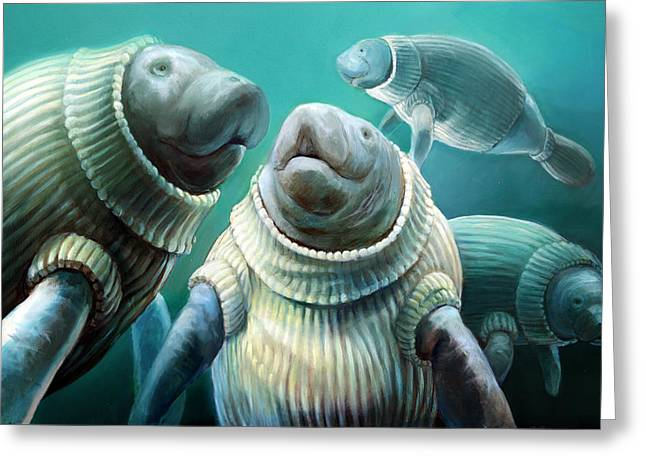 Sweater Manatee Tribe Greeting Card by Vanessa Bates