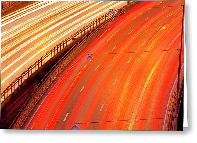 Sweden, Stockholm - Traffic On Essinge Greeting Card by Panoramic Images