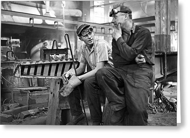Swedish Foundry Workers Greeting Card by David Murphy