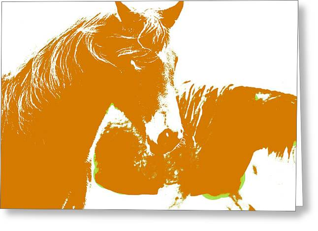 Swedish Half Breed Horse In Orange Greeting Card by Tommytechno Sweden