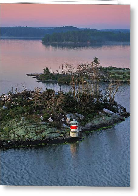 Swedish Lighthouse At Dawn Greeting Card by Marianne Campolongo