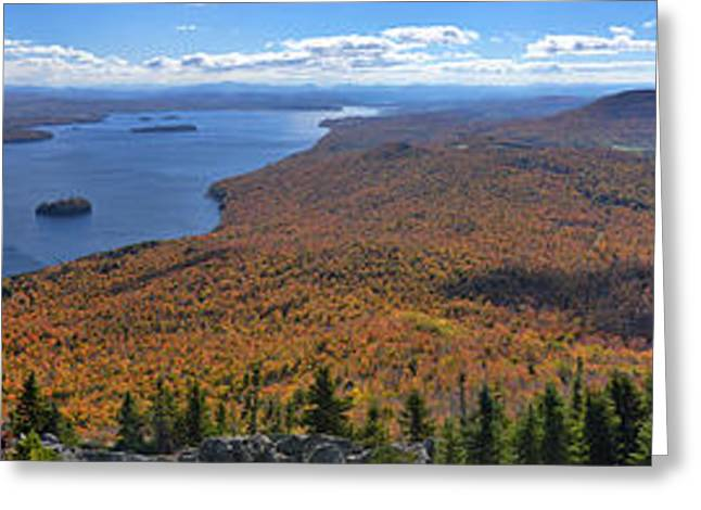 Sweeping Fall Panorama Over Lake Memphremagog Greeting Card