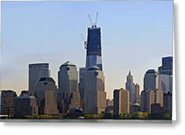 Sweeping Panorama Of New York City Before Sunset Greeting Card by Sebastien Coursol