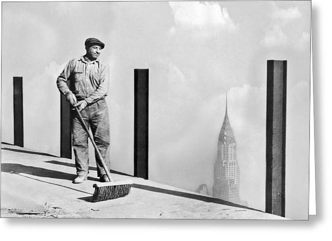 Sweeping The Empire State Bldg Greeting Card