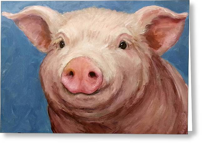 Sweet Baby Pig Portrait Greeting Card