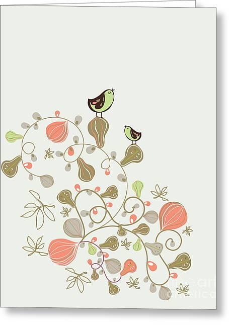 Sweet Bird Wallpaper Design Greeting Card