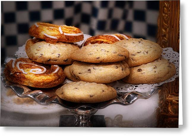 Sweet - Cookies - Cookies And Danish Greeting Card by Mike Savad