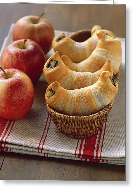 Sweet Croissants With Poppy Seed And Apple Filling Greeting Card